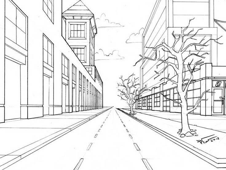 улица в перспективе