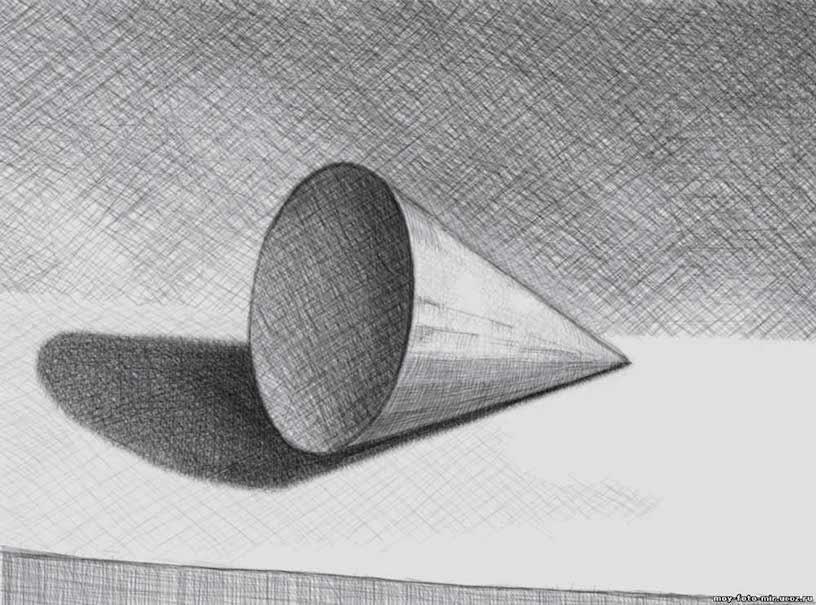 как рисовать конус карандашом поэтапно
