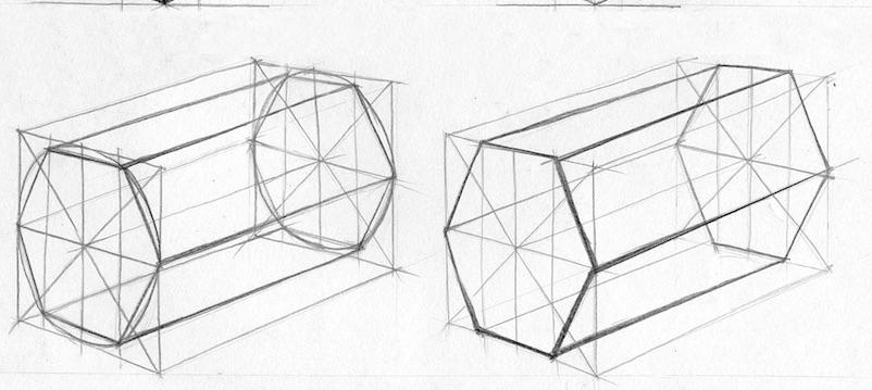 как рисовать шестигранную призму