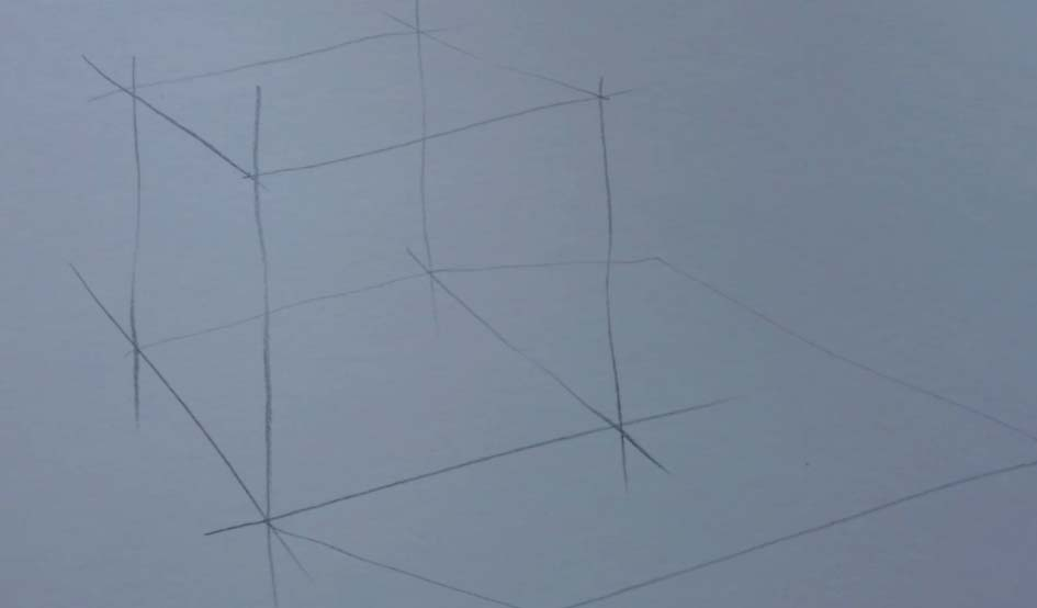 рисование куба поэтапно