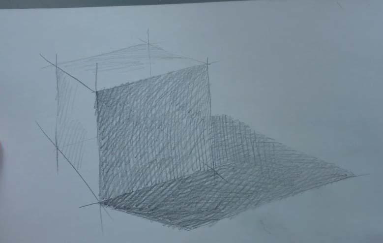 рисование куба карандашом поэтапно